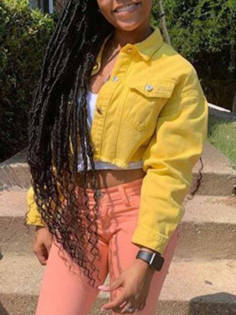 Ericdress Long Sleeve Single-Breasted Loose Regular Short Jacket