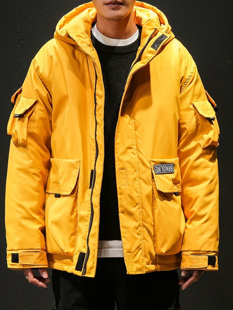 Ericdress Pocket Mid-Length Hooded Zipper Japanese Men's Down Jacket