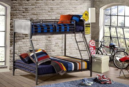 1265BBF Urban Quarters Twin/Full Bunk Bed with Punched Hole Detailing  Ladder and Metal Construction in Black Steel