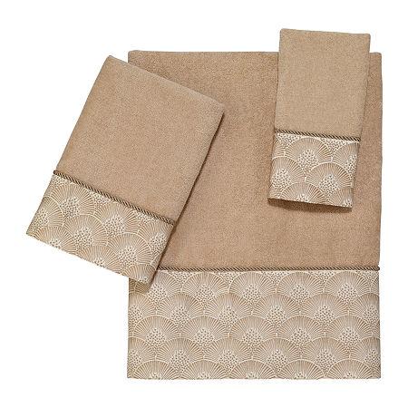 Avanti Deco Shell Rattan Embellished Bordered Bath Towel, One Size , Beige