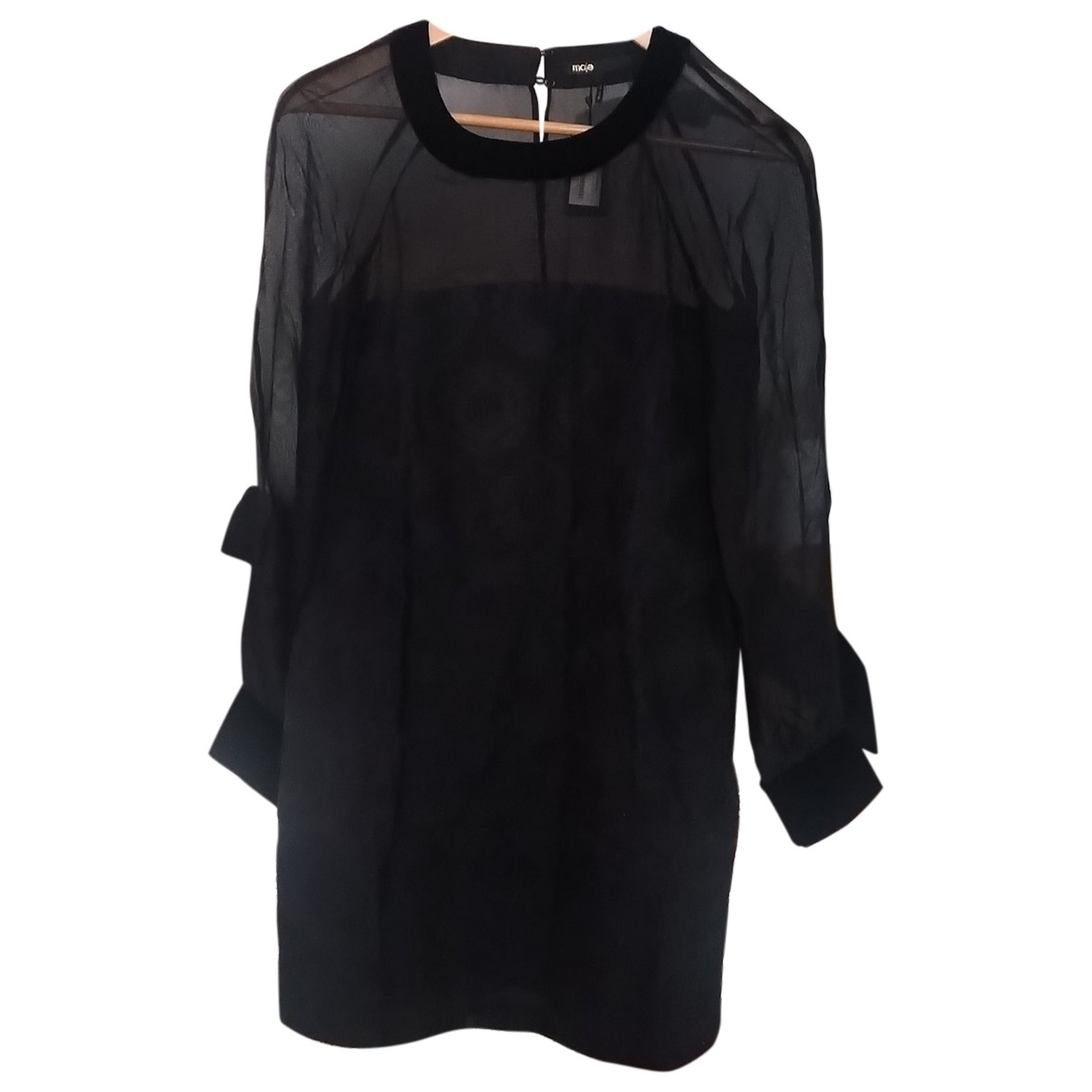 Maje \N Black Cotton dress for Women 38 FR
