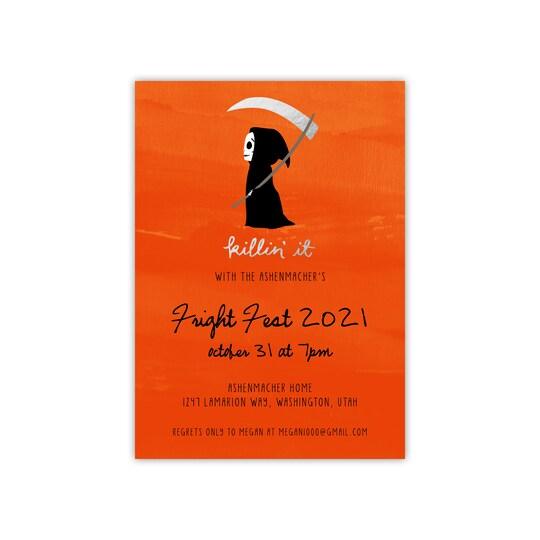 20 Pack of Gartner Studios® Personalized Killin' It Flat Halloween Foil Invitation in Orange   5