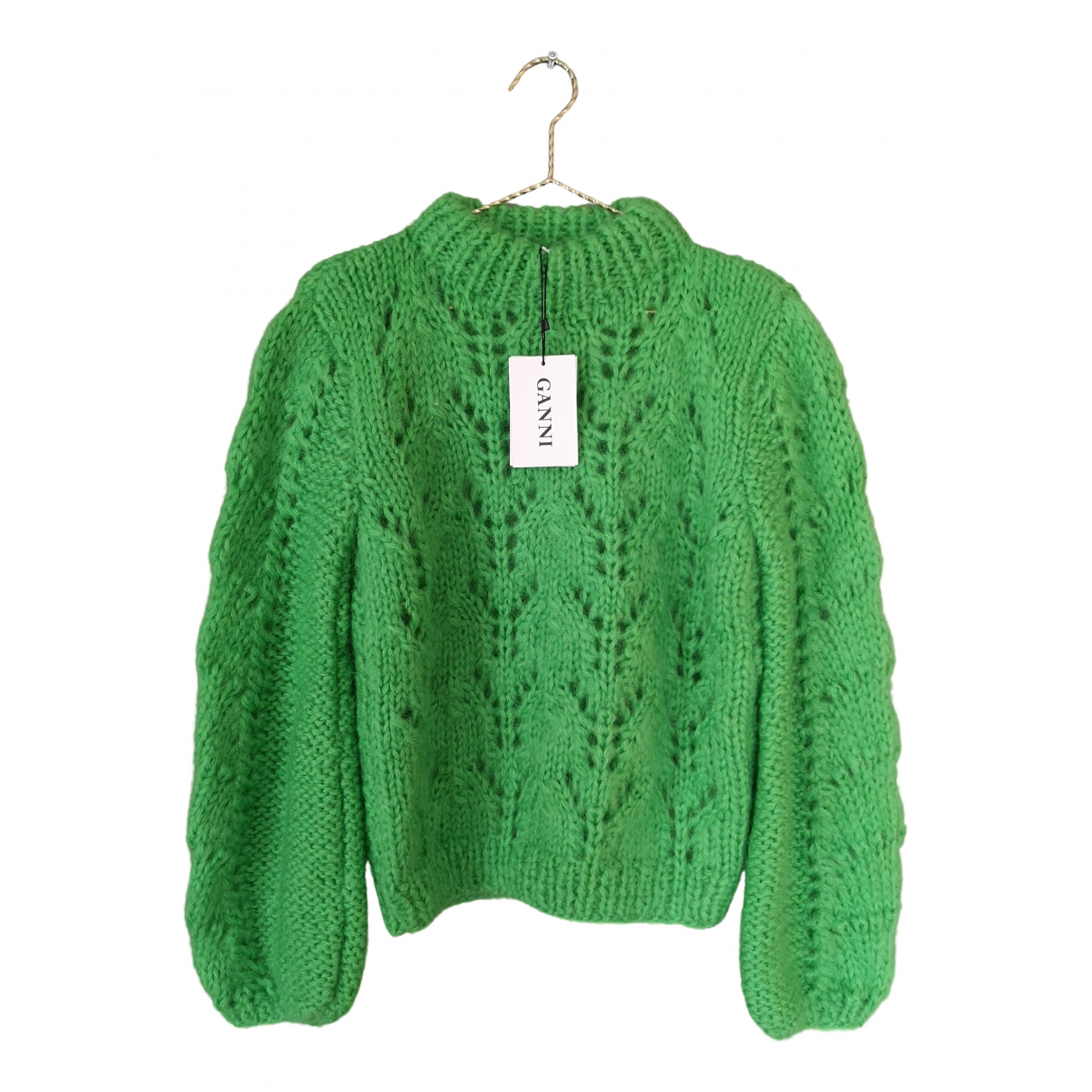 Ganni - Pull   pour femme en laine - vert