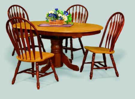DLU-TBX4266-NLO Pedestal Dining Table in Nutmeg with Light Oak Finish Butterfly