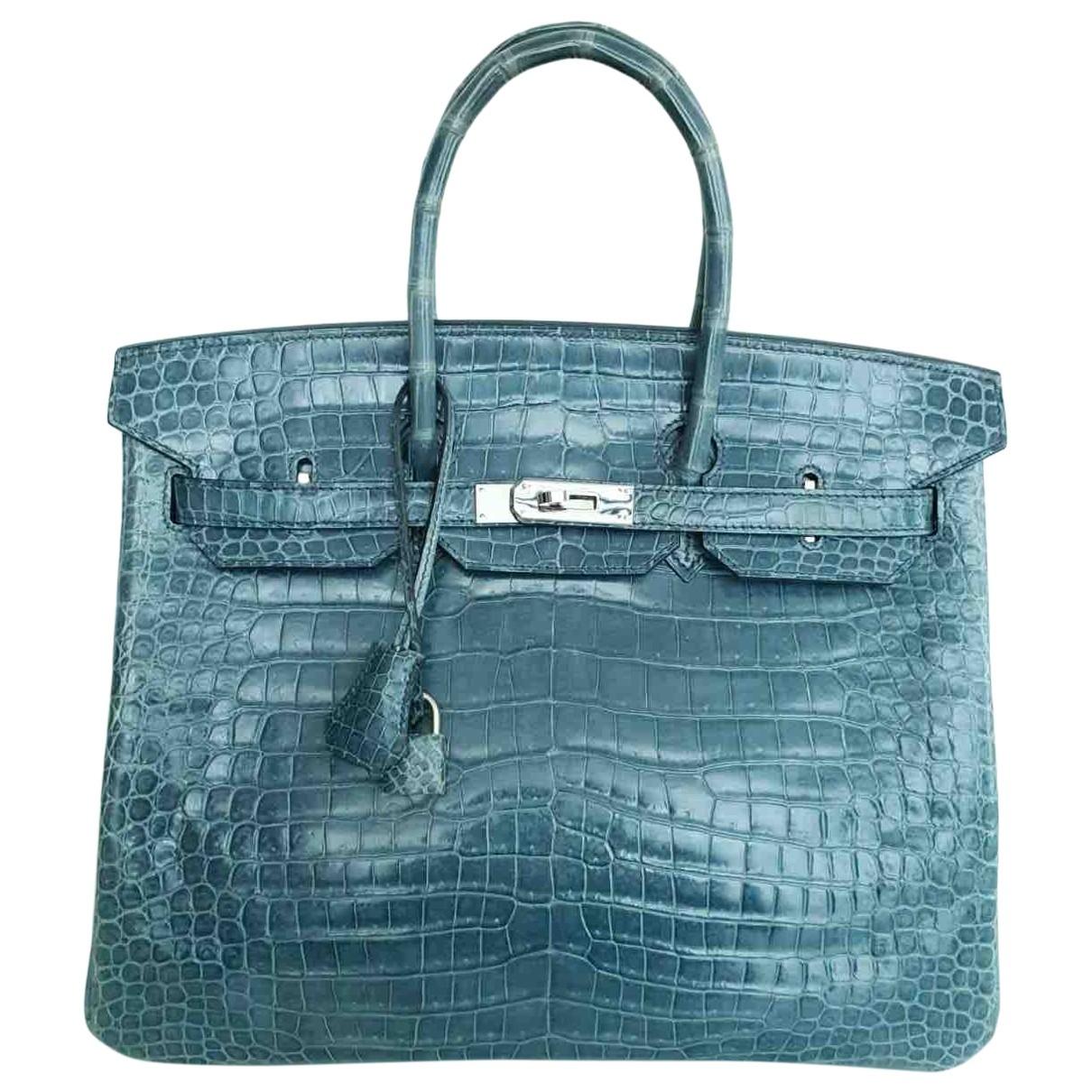 Hermes - Sac a main Birkin 35 pour femme en crocodile - bleu