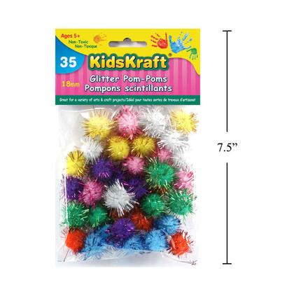Vie créative artisanat pom poms boules de paillettes petites boules de sparkle, 18mm, 35pcs
