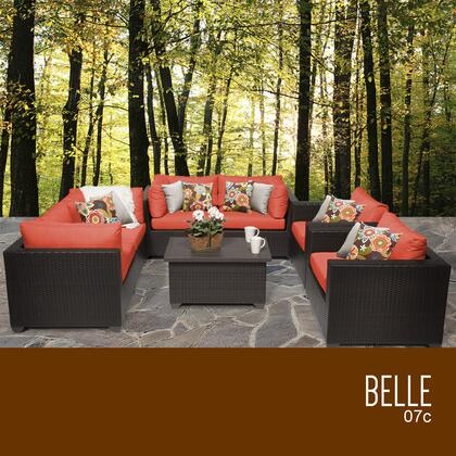 BELLE-07c-TANGERINE Belle 7 Piece Outdoor Wicker Patio Furniture Set 07c with 2 Covers: Wheat and