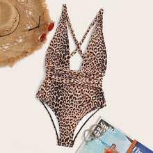 Leopard Criss Cross One Piece Swimsuit