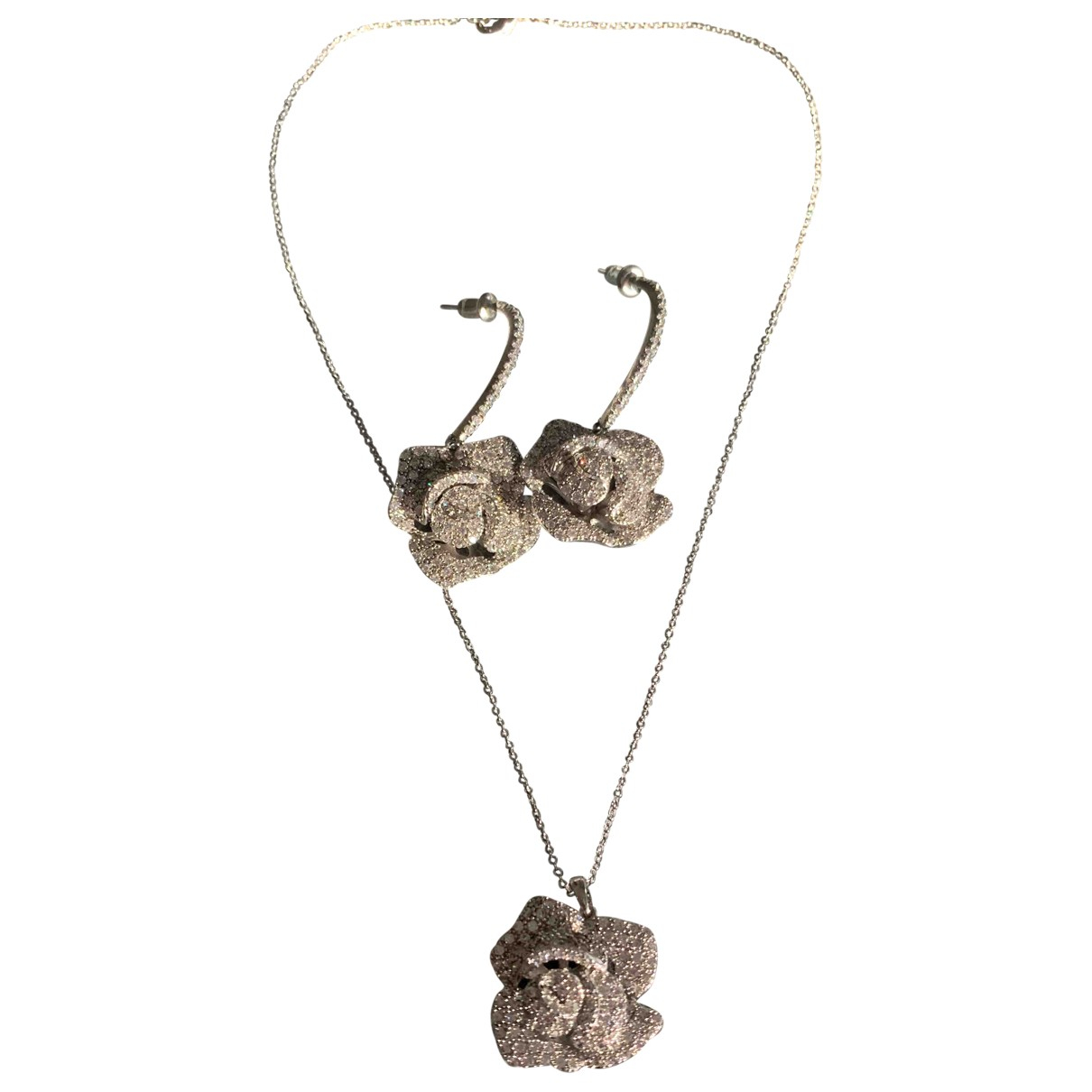 Non Signé / Unsigned Motifs Floraux Silver Crystal Jewellery set for Women \N