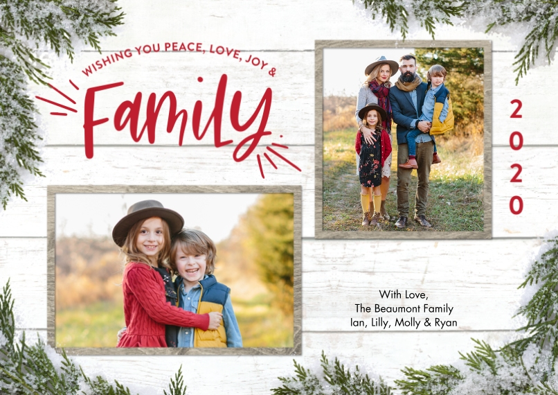 Christmas Photo Cards 5x7 Cards, Premium Cardstock 120lb with Elegant Corners, Card & Stationery -2020 Christmas Family Greenery by Tumbalina