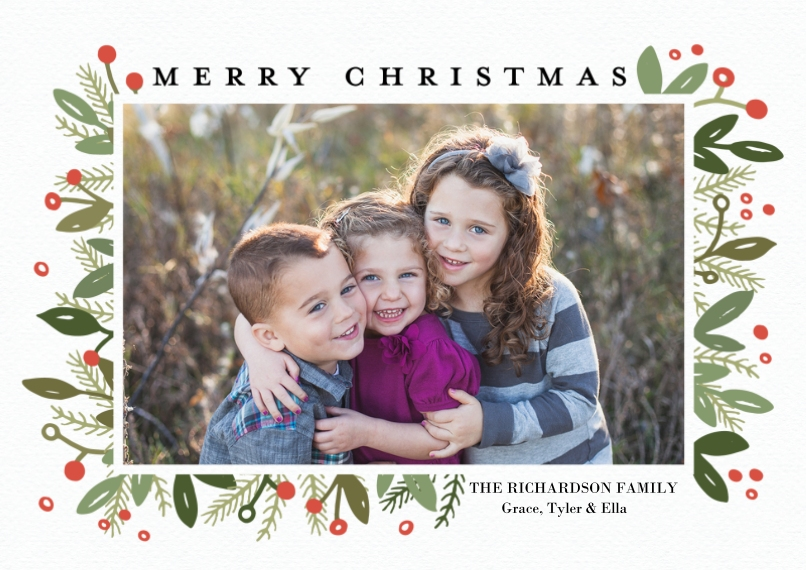Christmas Photo Cards 5x7 Cards, Premium Cardstock 120lb, Card & Stationery -Christmas Framed Berries