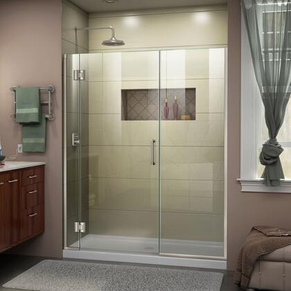 D12322572-04 Unidoor-X 51 1/2-52 W X 72 H Frameless Hinged Shower Door In Brushed