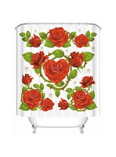 Modern Unique Design Flowers and Pearl Pattern 3D Shower Curtain