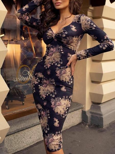 Yoins Navy Random Floral Print V-neck Long Sleeves Midi Dress