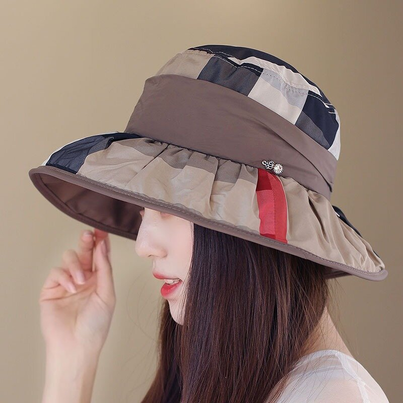 Women Foldable Vintage Plaid Basin Fishmen Hat Outdoor Casual Sunscreen Bucket Hat