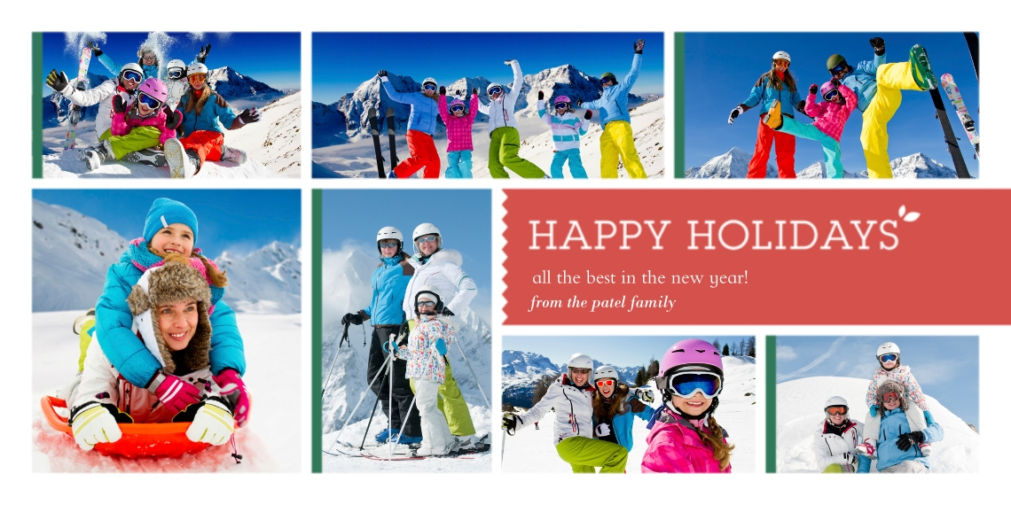 Holiday Photo Cards 4x8 Flat Card Set, 85lb, Card & Stationery -Multi-Photo Happy Holidays