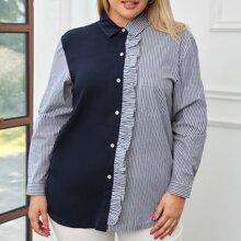 Zweifarbige Bluse mit Streifen und Rueschenbesatz
