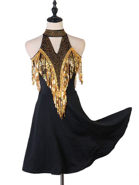 Milanoo Latin Dance Dresses Rhinestone Sequin Backless Blond Women Dancer Dancing Wears Halloween