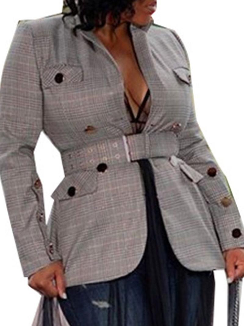 Ericdress Long Sleeve Plaid Regular Mid-Length Casual Blazer