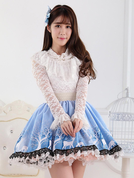 Milanoo Blue Short Lolita Skirt Lace Trim Polyester Print