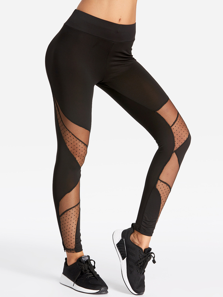 Yoins Active Quick Drying Net Yarn Stitching High Waisted Leggings in Black