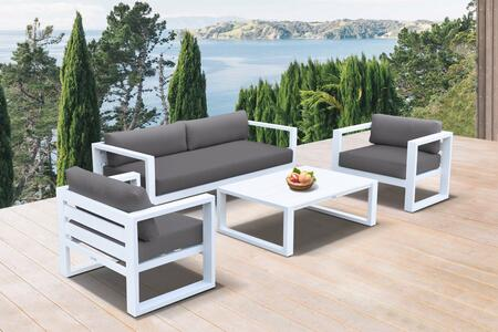 SETODAEWH Aegean Outdoor 4 piece Set in White Finish and Charcoal