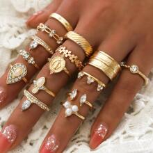 15pcs Rhinestone Decor Ring Set