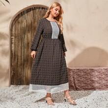 Kleid mit Guipure Spitzeneinsatz und Bluemchen Muster
