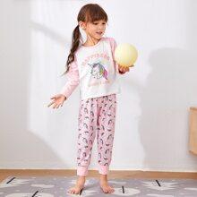 Toddler Girls Unicorn & Slogan Graphic Raglan Sleeve PJ Set