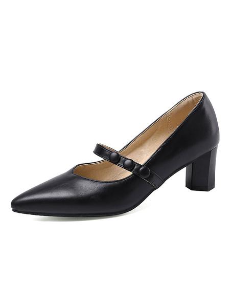 Milanoo Women Black Heels Pointed Toe Block Heel Mary Jane Shoes