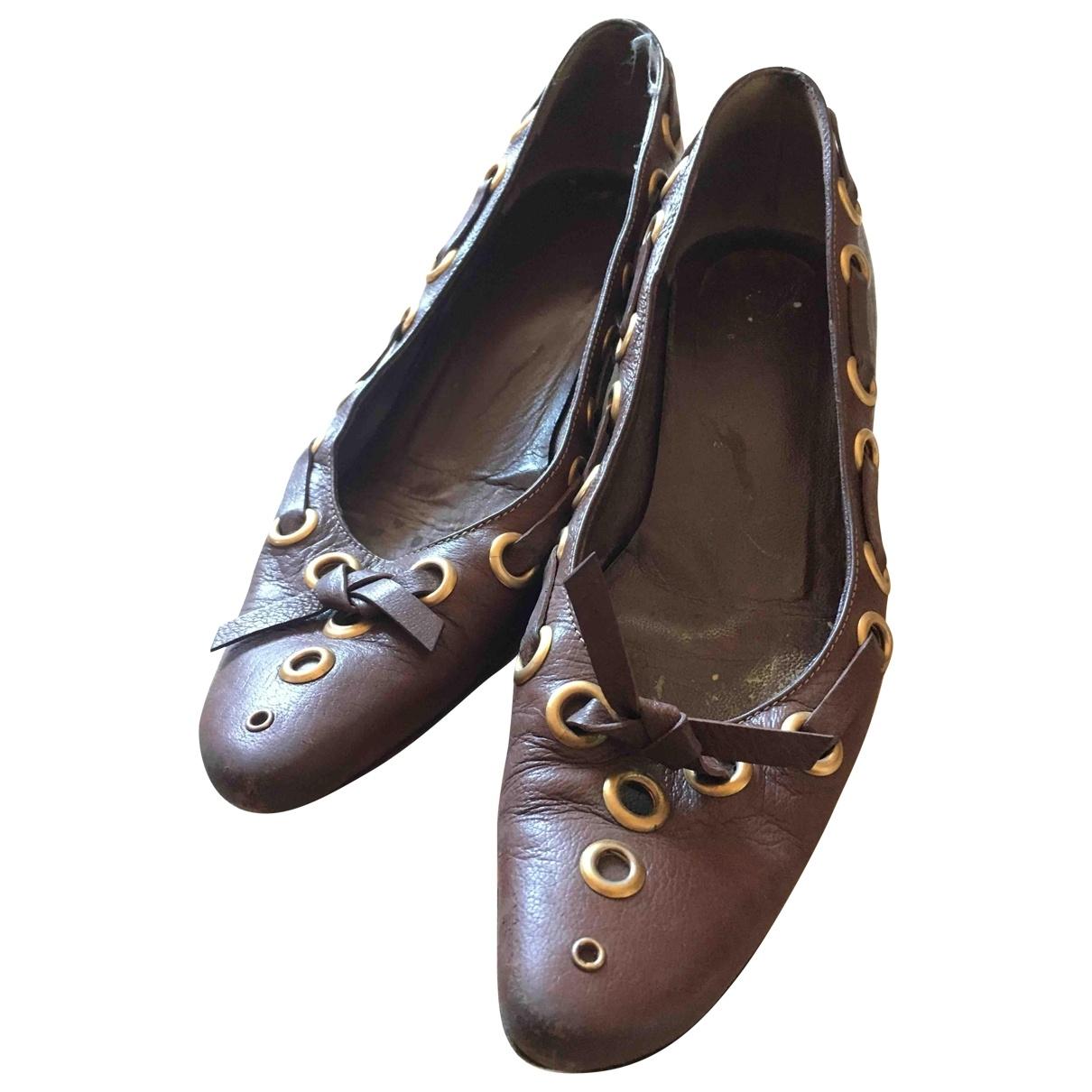 Prada \N Brown Leather Heels for Women 38.5 IT
