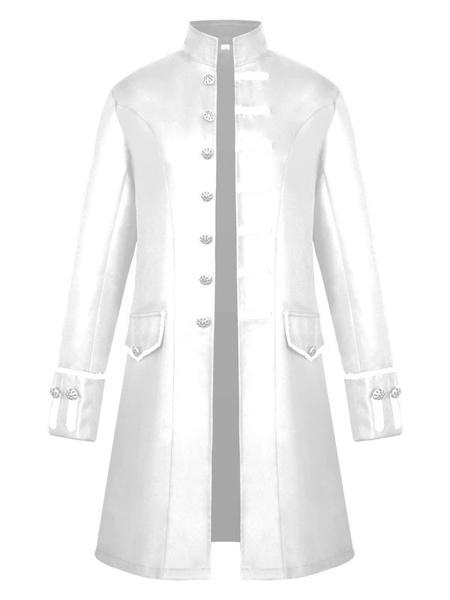 Milanoo Men Vintage Coat Stand Collar Button Up Uniform Costume