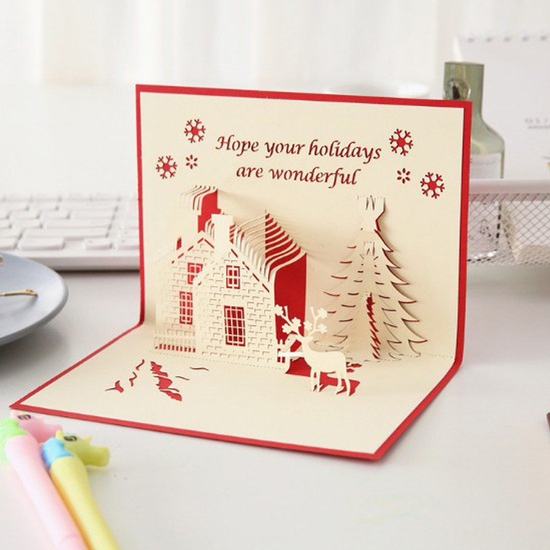 3D Christmas Tree and House Greeting Card