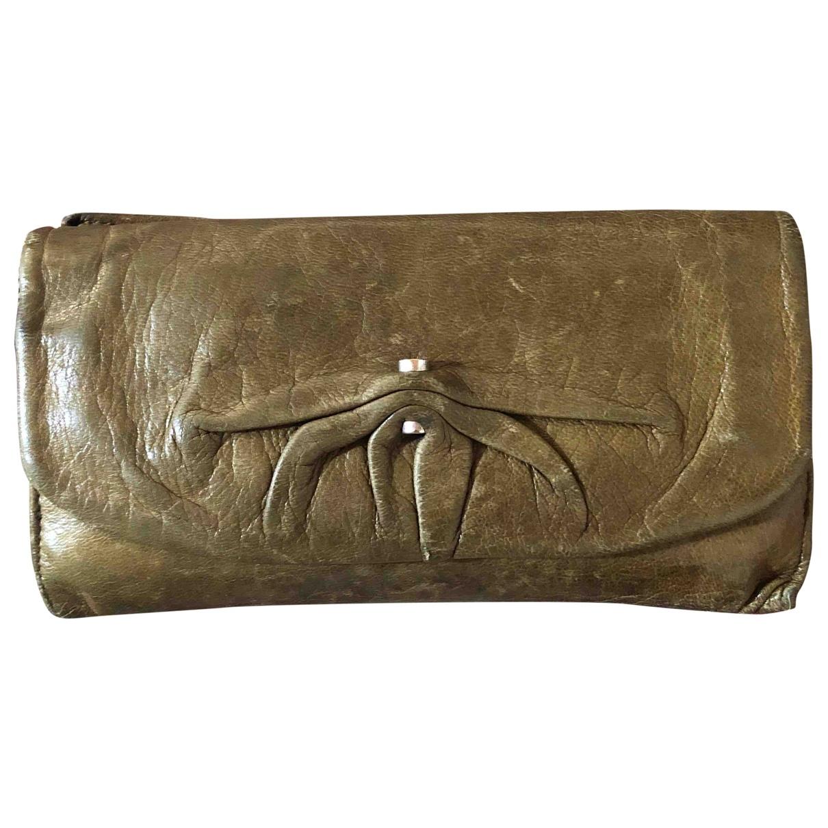 Yves Saint Laurent \N Khaki Leather wallet for Women \N