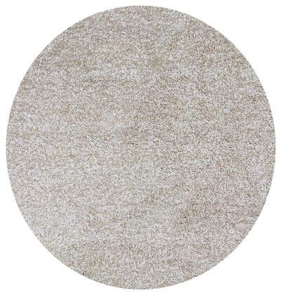 349769 8' Round Polyester Ivory Heather Area