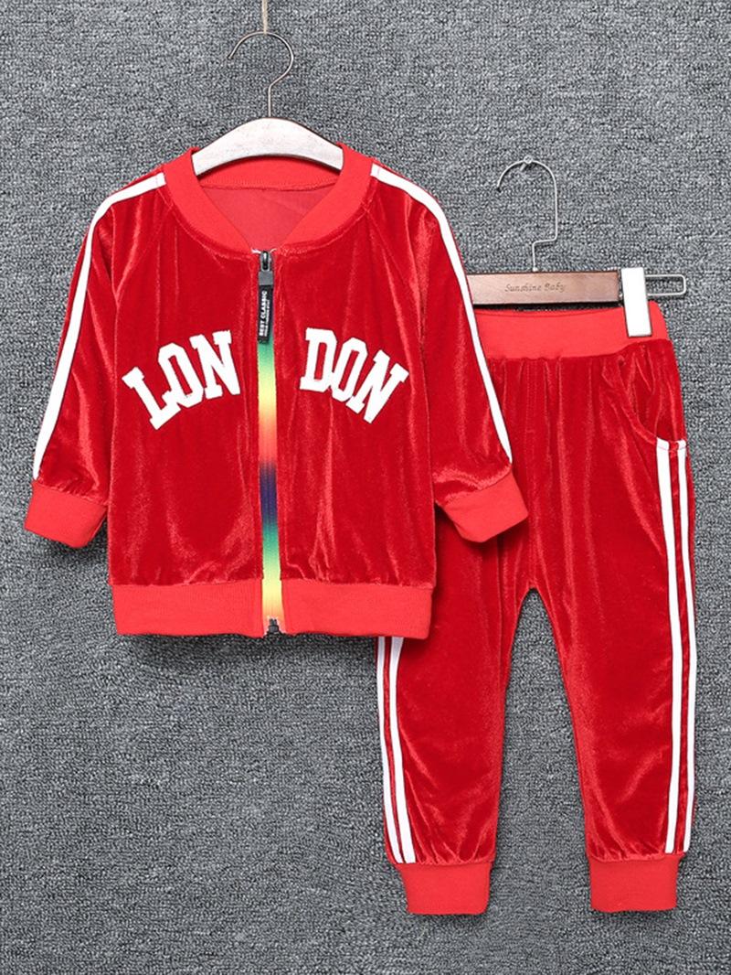 Ericdress Velvet Letter Pattern Long Sleeve Zipper Boys Outfits