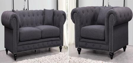 Chesterfield 662GRY-S-C 2 Piece Living Room Set with Sofa and Chair in