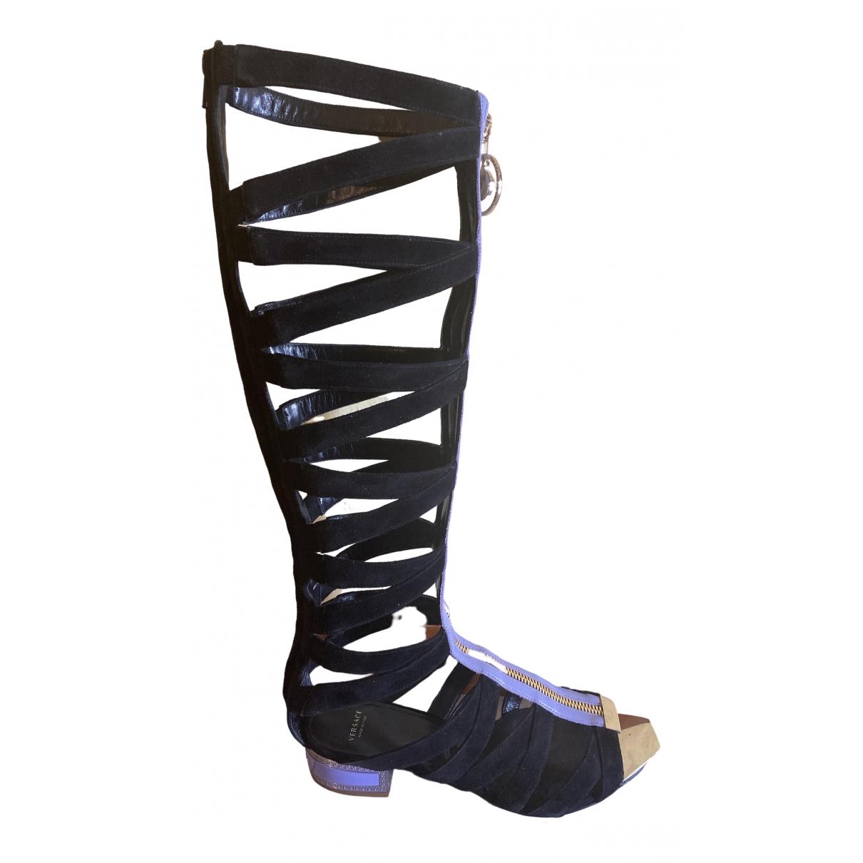 Versace \N Black Pony-style calfskin Sandals for Women 40 IT