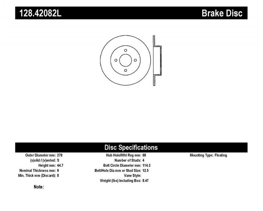 StopTech 128.42082L Sport Cross Drilled Brake Rotor Rear Left Nissan Sentra Rear Left 2004-2006 2.5L 4-Cyl