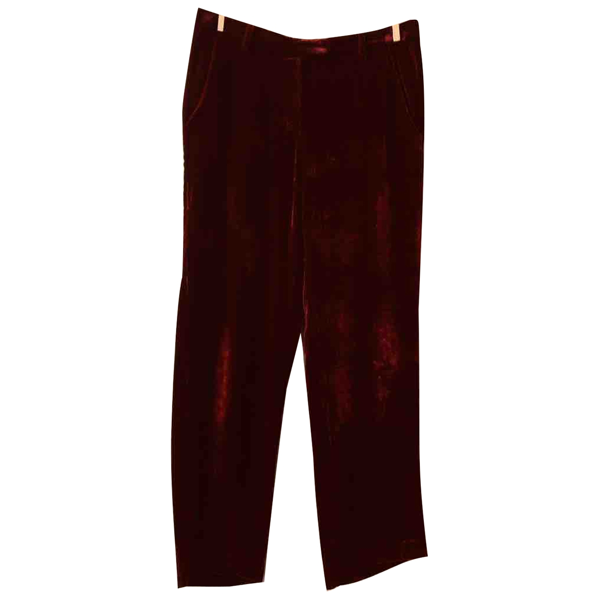 Masscob \N Burgundy Velvet Trousers for Women 36 FR