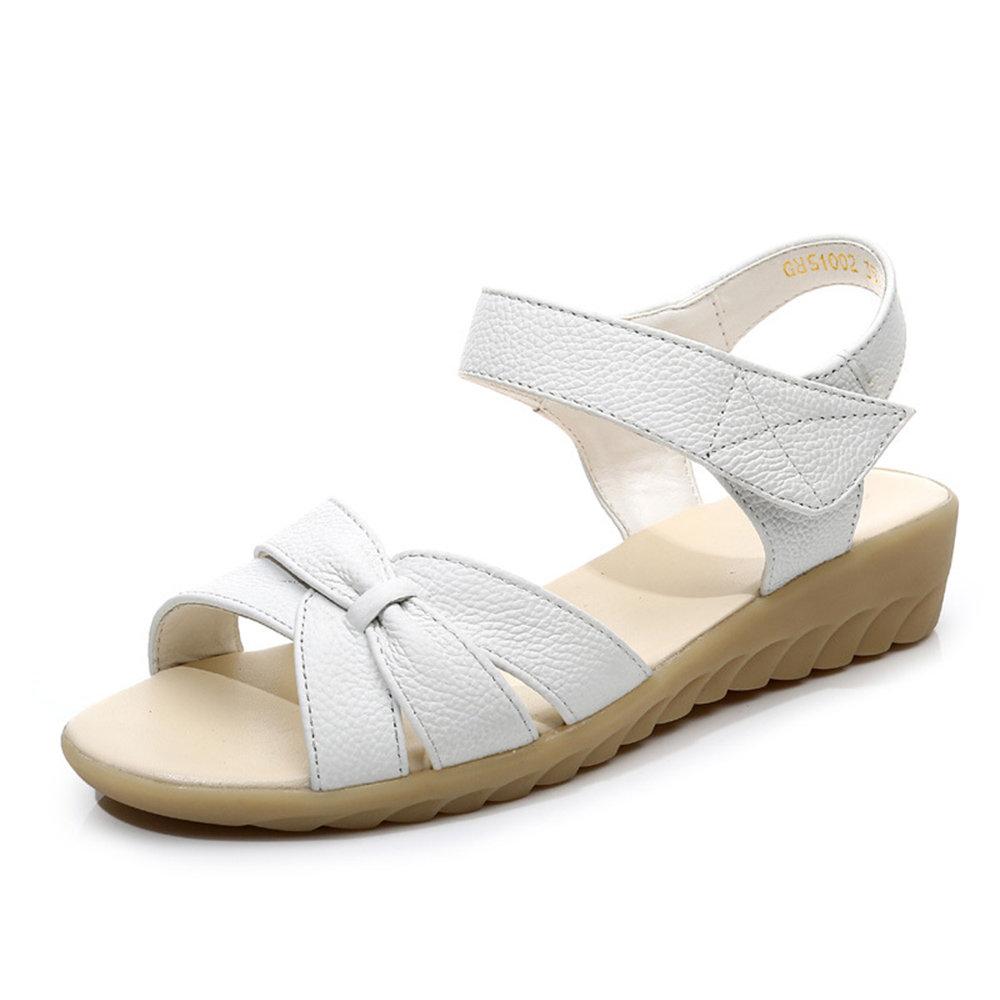 Hook Loop Leather Soft Sole Low Heel Sandals