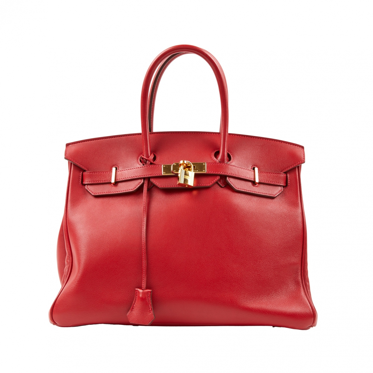 Hermes - Sac a main Birkin 35 pour femme en cuir - rouge
