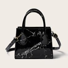 Marble Print Satchel Bag