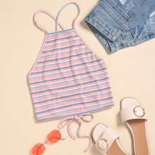 Striped Rib-knit Lace Up Backless Cami Top