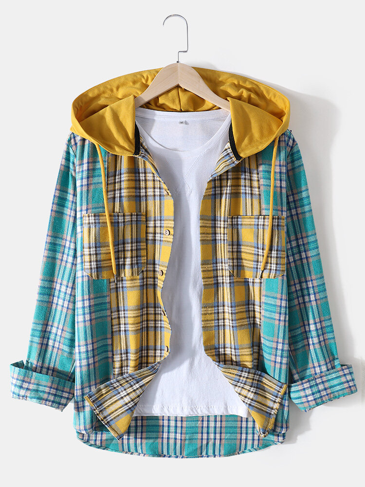 Mens Contrast Patchwork Plaid Cotton Double Pocket Long Sleeve Drawstring Hooded Shirts