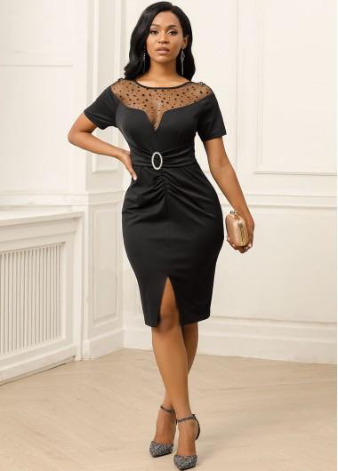 Black Dresses Slit Hem Mesh Panel Short Sleeve Dress - XS