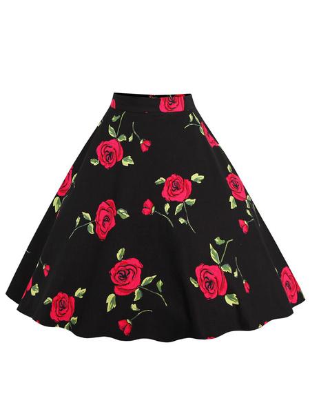 Milanoo Falda de algodon con estampado de flores estilo street wear