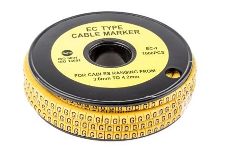 RS PRO Slide On Cable Marker, Pre-printed G Black on Yellow 3 → 4.2mm Dia. Range