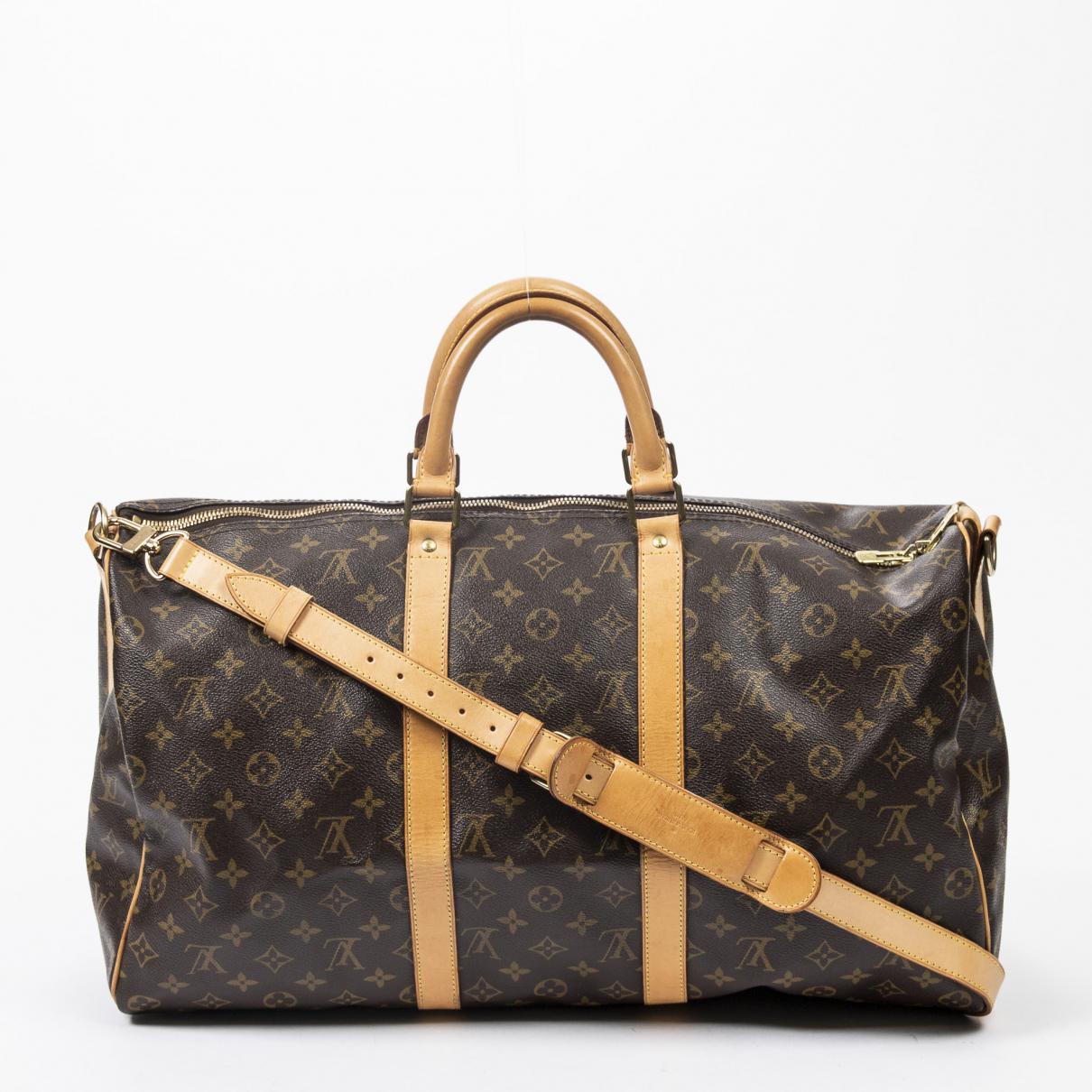 Louis Vuitton Keepall Reisetasche in  Braun Baumwolle