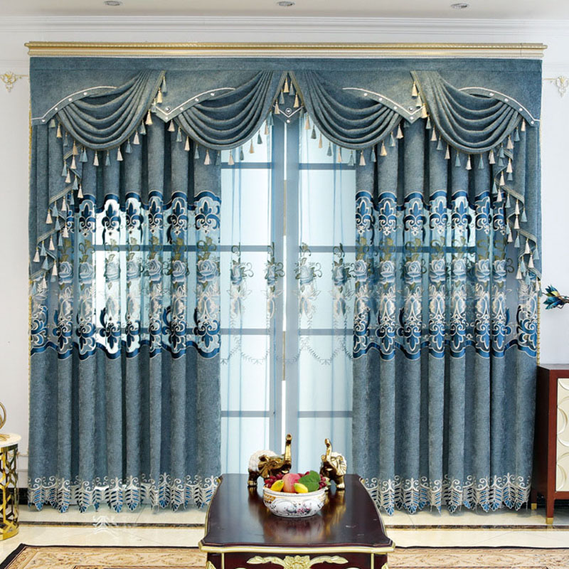 European Floral Embroidered Custom 2 Panels Breathable Blue Sheer Curtains for Living Room No Pilling No Fading No off-lining